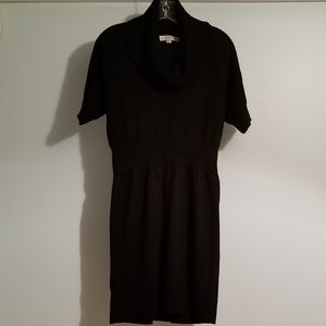 LOFT | BLK COWL NECK SHORT SLEEVE KNIT DRESS, SZ M